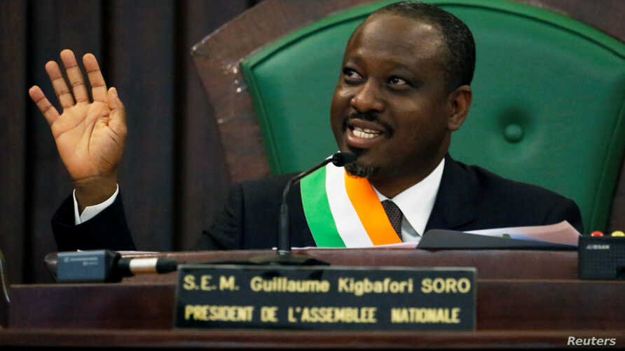 FILE - Ivory Coast parliament speaker Guillaume Soro speaks at the National Assembly in Abidjan, Feb. 8, 2019.