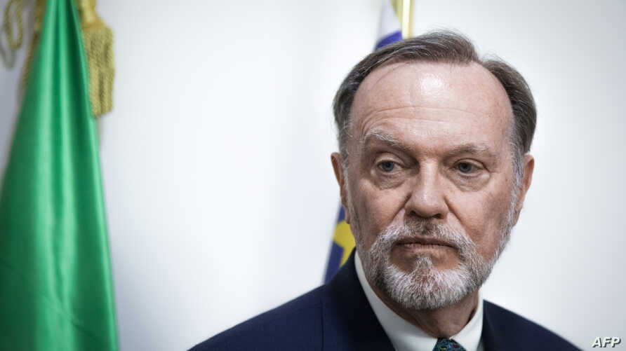 Tibor P. Nagy, U.S. Assistant Secretary for African Affairs, gives a press conference in a room of the presidency of the…