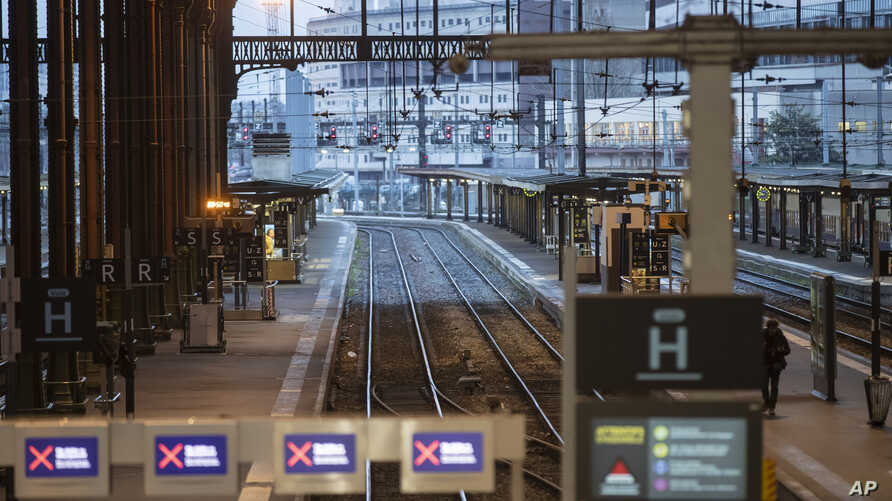 A view of empty platforms of the Gare de Lyon train station during the 30th day of transport strikes in Paris, Friday, Jan. 3,…