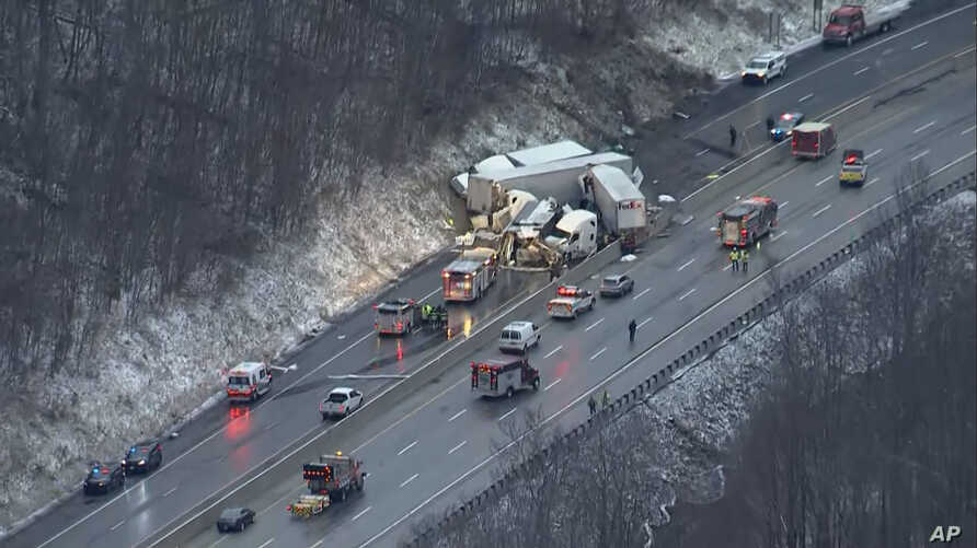 This image by KDKA TV shows the scene near Greensburg, Pa. along the Pennsylvania Turnpike where multiple people were killed and dozens were injured in a crash early Sunday, Jan. 5, 2020 that involved multiple vehicles, a transportation official said.