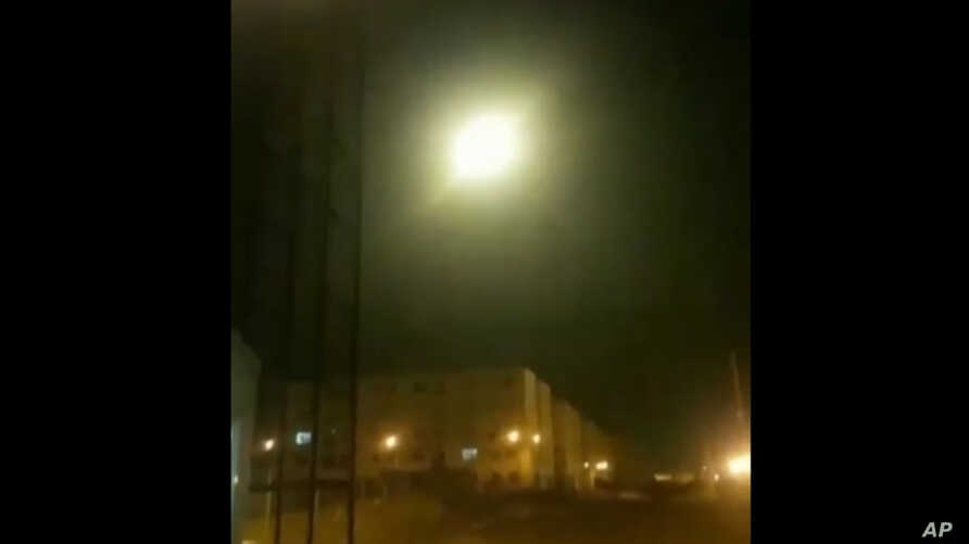 This image taken from a video on Wednesday Jan. 8, 2020 and provided by Nariman Gharib shows an object said to be the Ukrainian…