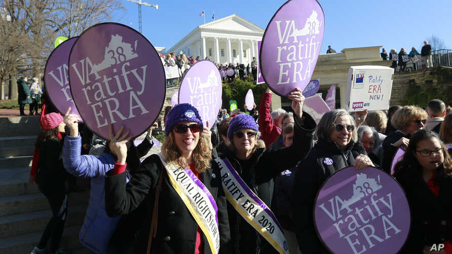 Equal Rights Amendment supporters demonstrate outside Virginia State Capitol in Richmond, Virginia, Jan. 8, 2020.