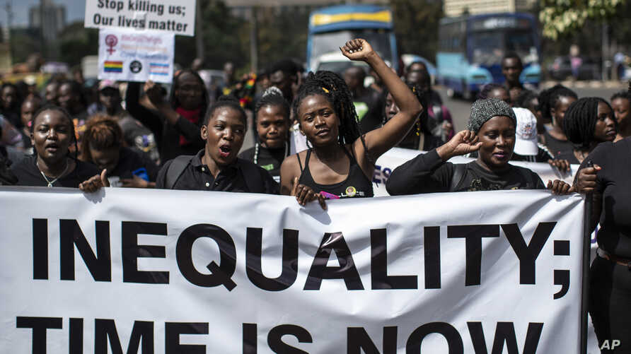 Demonstrators against inequality march to the office of the president in downtown Nairobi, Kenya, Jan. 17, 2020.