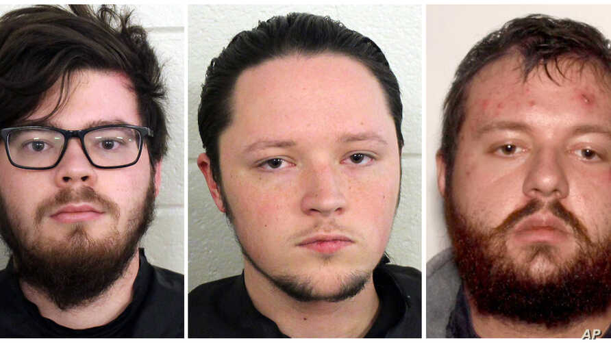 These undated photos provided by Floyd County, Ga., Police show from left, Luke Austin Lane, Jacob Kaderli, Michael Helterbrand