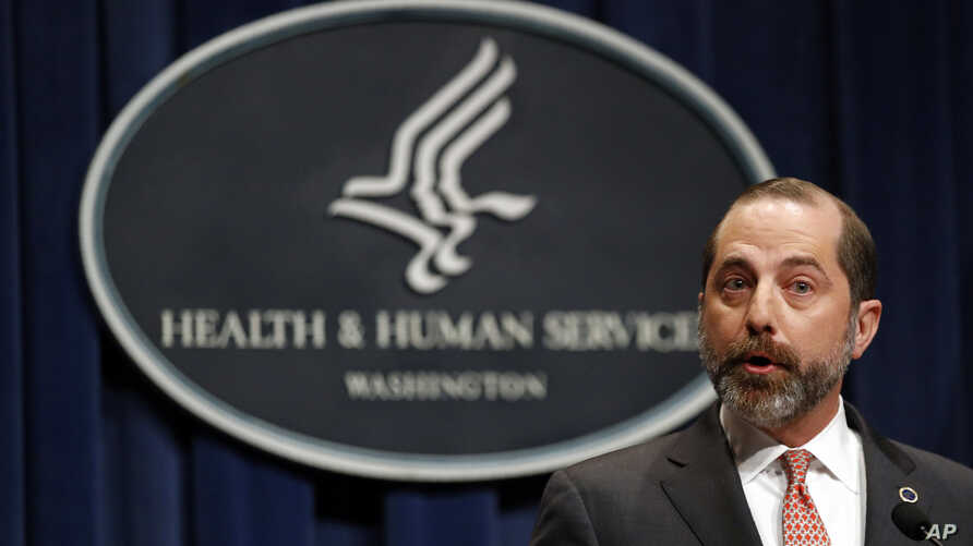 Health and Human Services Secretary Alex Azar speaks at a news conference about the federal government's response to a virus…