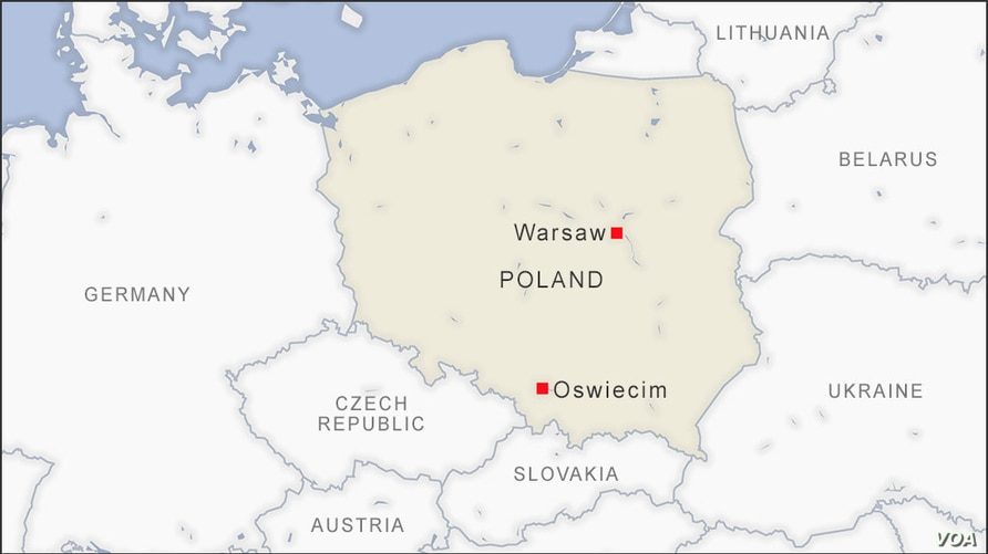Map of Oswiecim Poland