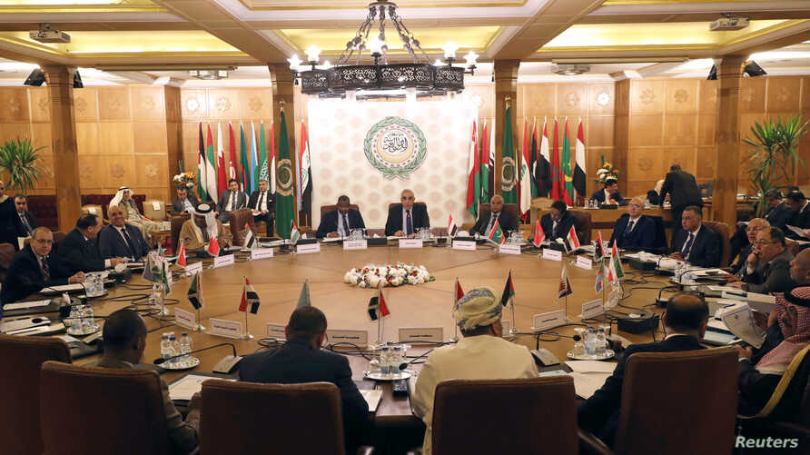 Permanent representatives of the Arab League take part in an emergency meeting to discuss Turkey's plans to send military…