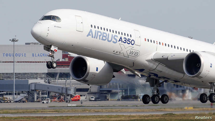 An Airbus A350 takes off at the aircraft builder's headquarters in Colomiers near Toulouse, France, Sept. 27, 2019.