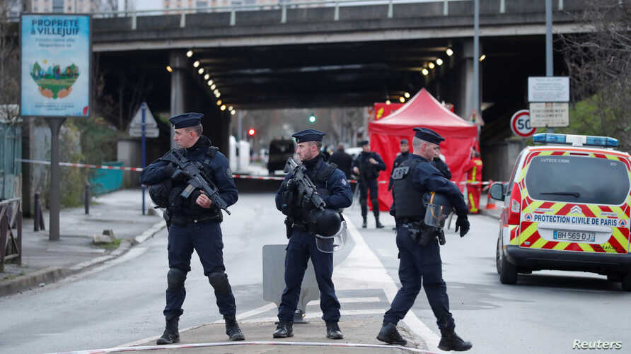 French police secure an area in Villejuif near Paris, France, January 3, 2020 after police shot dead a man who tried to stab…