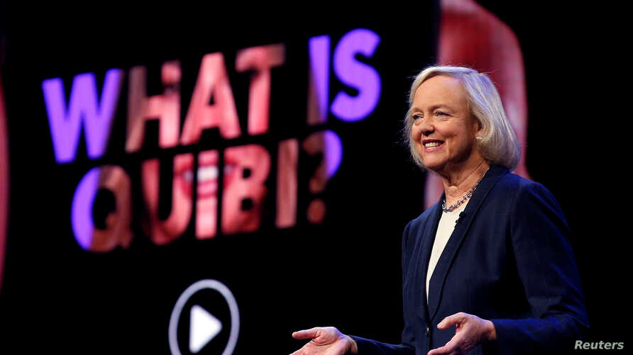 Quibi CEO Meg Whitman speaks during a Quibi keynote address at the 2020 CES in Las Vegas, Nevada, U.S., January 8, 2020…