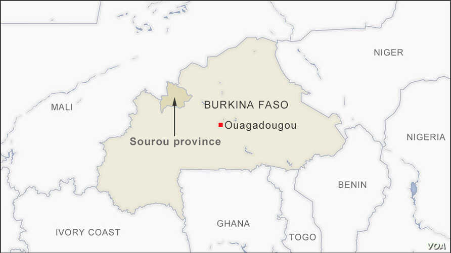 Map of Sourou province Burkina Faso