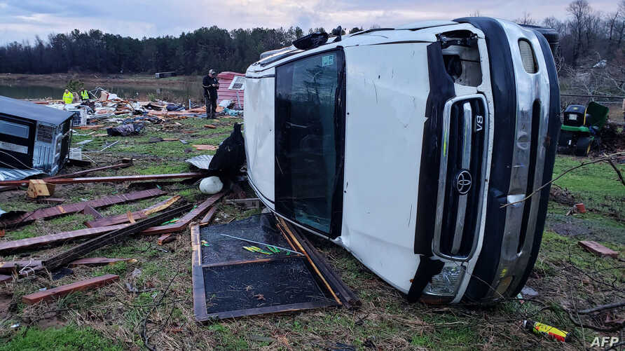 This handout photo obtained from the Sheriff's Office in Bossier Parish, Louisiana, shows the aftermath of a powerfull storm, Jan. 11, 2020.