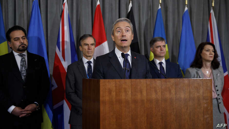 Canadian Foreign Minister Francois-Philippe Champagne addresses the media after a meeting of the International Coordination and Response Group to discuss the downing of a Ukrainian plane in Iran, at the High Commission of Canada in London, Jan. 16, 2020.
