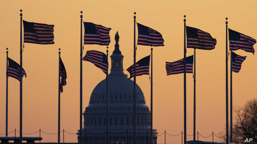 American flags blow in wind around the Washington Monument, with the U.S. Capitol in the background at sunrise Jan. 20, 2020, in Washington.