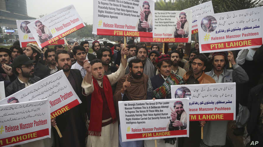 People protest demanding the release of Manzoor Pashteen, young firebrand leader of a human rights movement, in Lahore, Pakistan, Jan. 28, 2020.