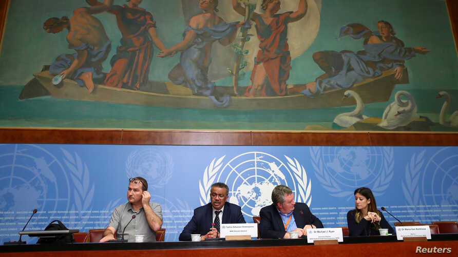 Director-General of the World Health Organization (WHO) Tedros Adhanom Ghebreyesus speaks during a news conference on the situation of the coronavirus, at the United Nations' European Headquarters, in Geneva, Switzerland, Jan. 29, 2020.