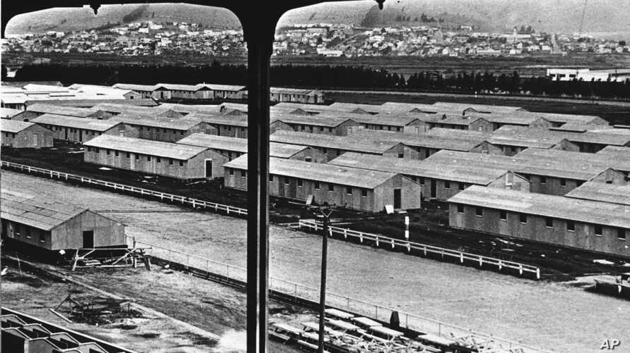 A general view of the Japanese internment camp at Tanforan, Calif., date unknown. (AP Photo)