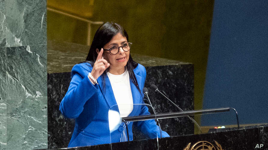 Vice President of Venezuela Delcy Rodriguez addresses the 74th session of the United Nations General Assembly, Friday, Sept. 27…