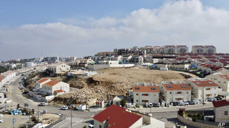 A view overlooks the Jewish West Bank settlement of Ari'el, Jan. 28, 2020.