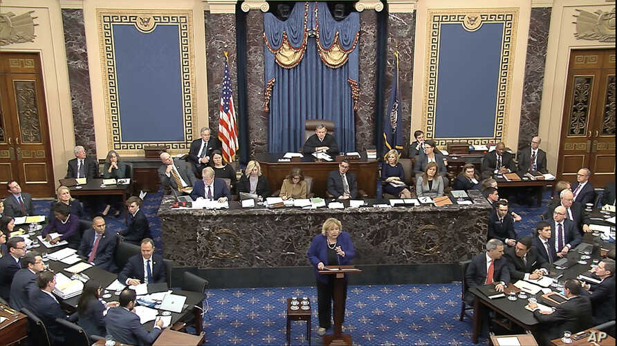 In this image from video, House impeachment manager Rep. Zoe Lofgren, D-Calif., speaks during closing arguments in the…