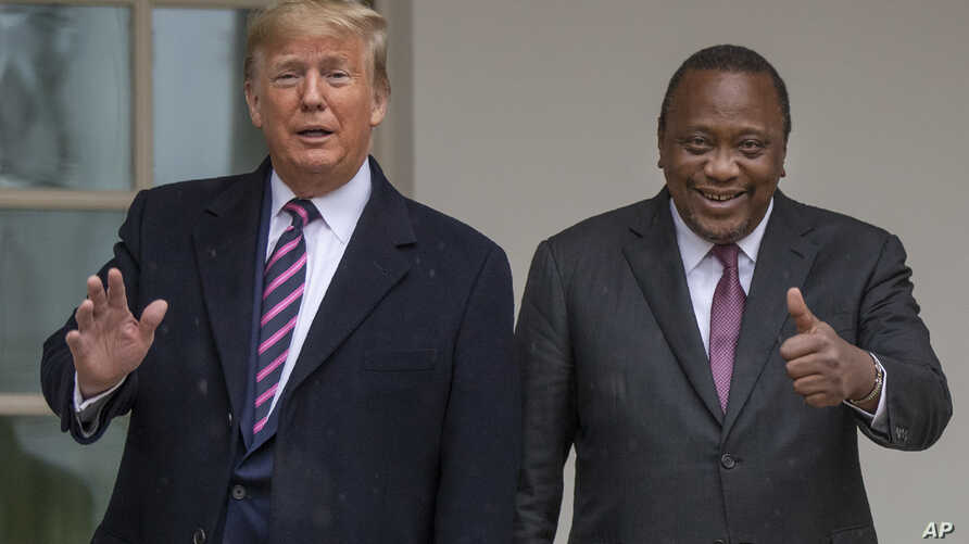 President Donald Trump welcomes Kenyan President Uhuru Kenyatta to the White House, Thursday, Feb. 6, 2020, in Washington. (AP…