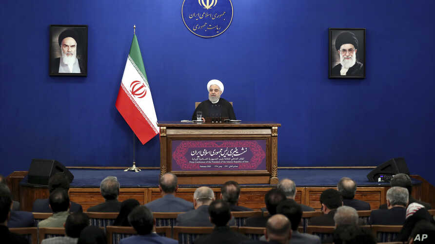 Iran's President Hassan Rouhani gives a press conference in Tehran, Iran, Feb. 16, 2020. Rouhani said Sunday  that he doesn't believe the U.S. will pursue war with his country, because it will harm President Donald Trump's 2020 reelection bid.