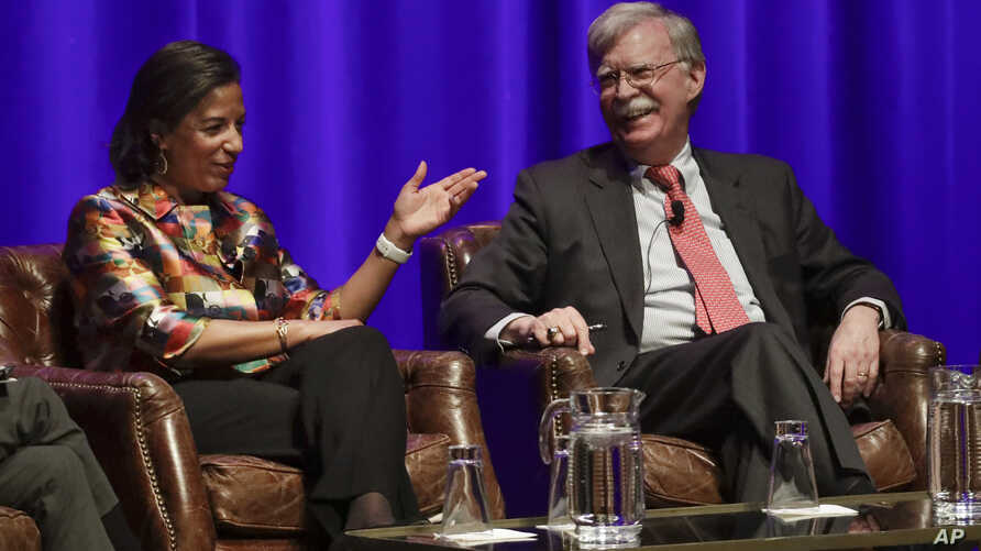 Former national security advisers Susan Rice, left, and John Bolton take part in a discussion on global leadership at…
