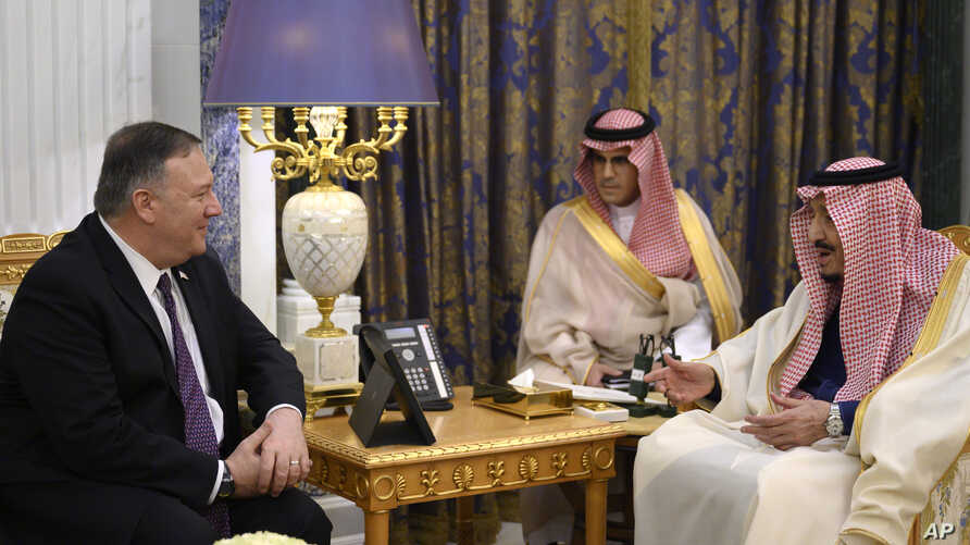 US Secretary of State Mike Pompeo, left, meets with Saudi King Salman, right, at the Royal Court in Riyadh, Saudi Arabia, Feb. 20, 2020.