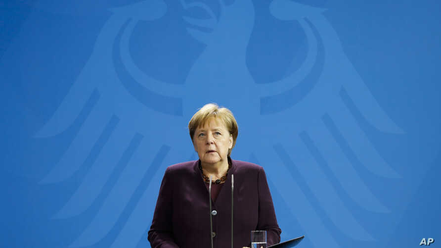 German Chancellor Angela Merkel gives a statement following a shooting in the central German city Hanau, at the chancellery in Berlin, Germany, Feb. 20, 2020.