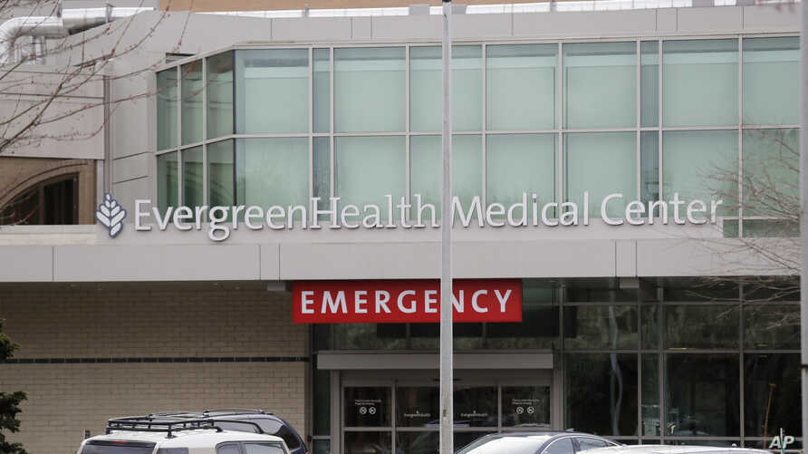 EvergreenHealth Medical Center is seen Saturday, Feb. 29, 2020, where a person died of COVID-19, in Kirkland, Wash. State.