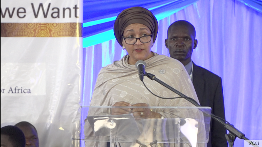 Amina Mohammed, the U.N. Deputy Secretary General, speaks at a regional Sustainable Development forum organized by UNECA in Victoria Falls, Zimbabwe, Feb. 25, 2020. (Columbus Mavhunga/VOA)