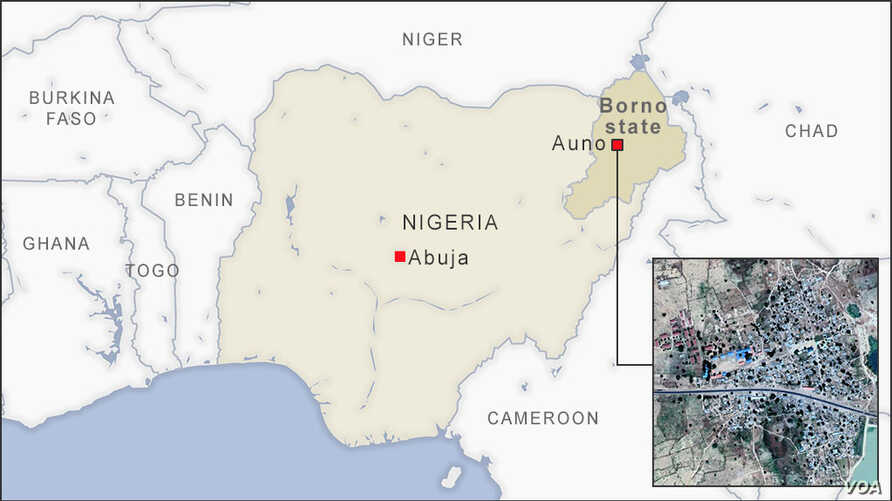 Map of Auno, Borno state, Nigeria