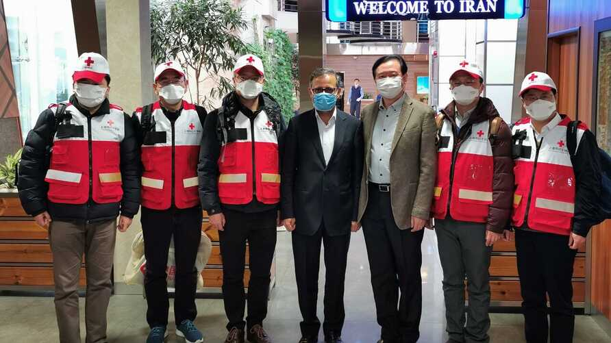 Chinese medical workers arrive at Tehran airport, Feb. 29, 2020, to help Iran with its coronavirus response. (IRNA photo)