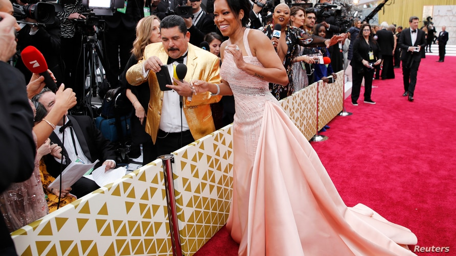 Regina King reacts on the red carpet during the Oscars arrivals at the 92nd Academy Awards in Hollywood