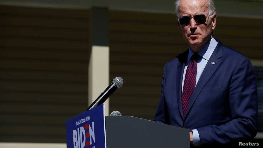 Democratic U.S. presidential candidate and former U.S. Vice President Joe Biden makes a statement about healthcare outside St…