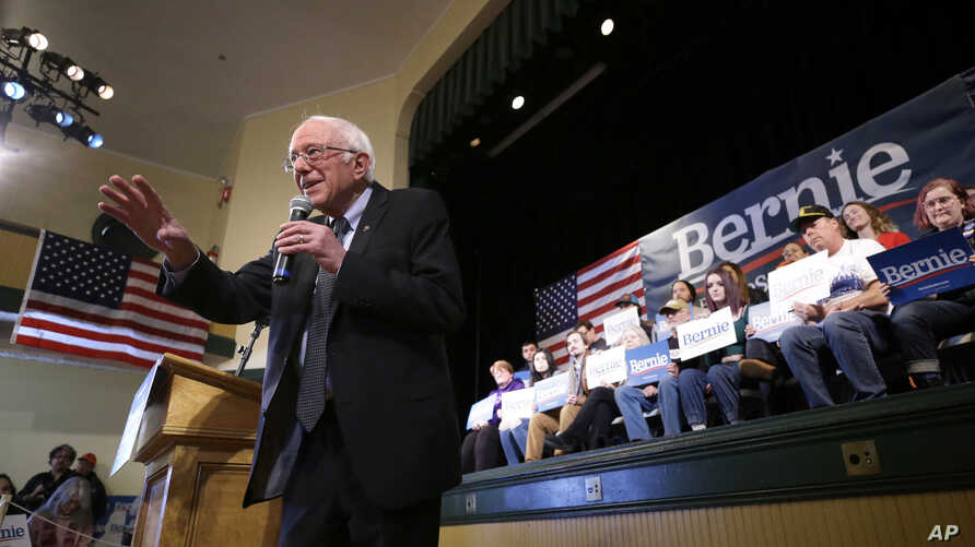 Democratic presidential candidate Bernie Sanders addresses an audience during a campaign rally in Derry, New Hampshire, Feb. 5, 2020.