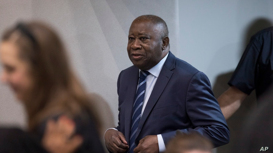 FILE - Former Ivory Coast president Laurent Gbagbo enters the courtroom at the International Criminal Court in The Hague, Netherlands, Jan. 15, 2019.
