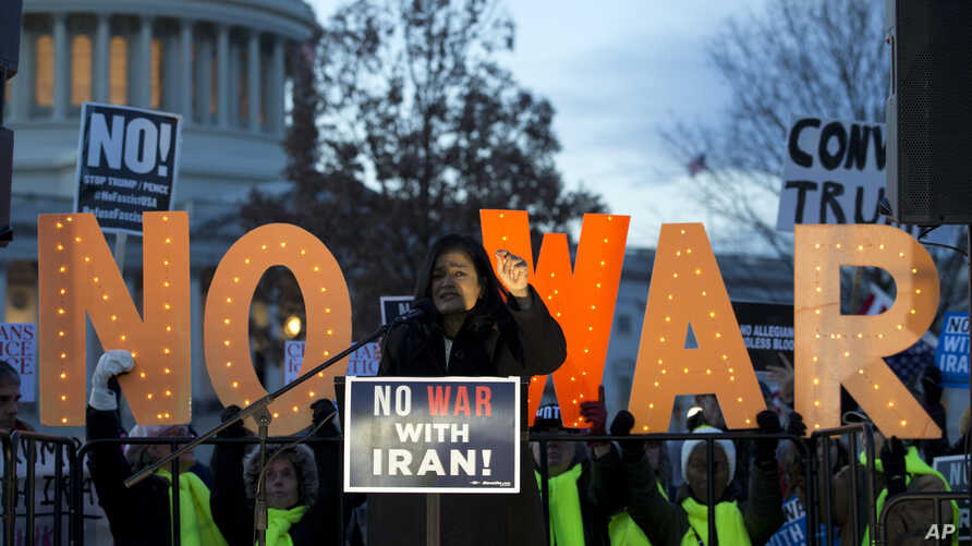 Member of Congress Pramila Jayapal speaks during a rally, during a House vote to limit President Donald Trump's ability to take military action against Iran, on Capitol Hill, in Washington, Jan. 9, 2020. Now the Senate is taking similar action.