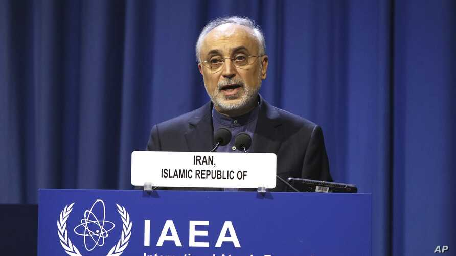 FILE - The head of Iran's nuclear program Ali Akbar Salehi speaks at an IAEA conference, at the International Center in Vienna, Austria, Sept. 16, 2019.
