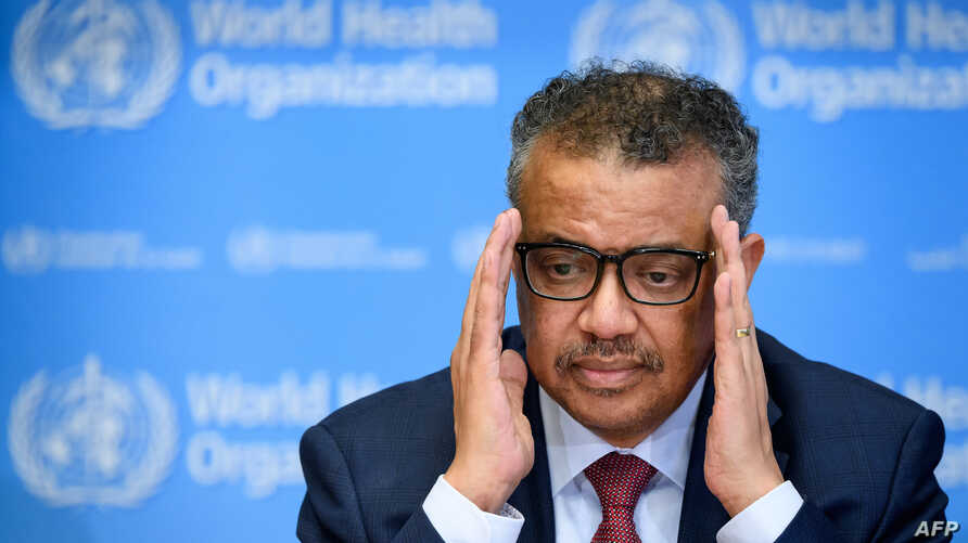 World Health Organization (WHO) Director-General Tedros Adhanom Ghebreyesus attends a daily press briefing on COVID-19 at the…
