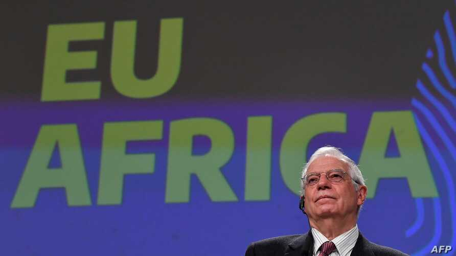European Union ministers for Foreign Affairs Josep Borrell gives a press conference on EU's new strategy with Africa on March 9…