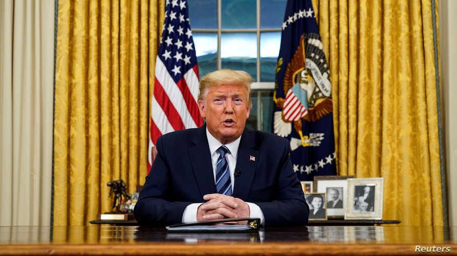 U.S. President Donald Trump speaks about the U.S response to the COVID-19 coronavirus pandemic during an address to the nation.