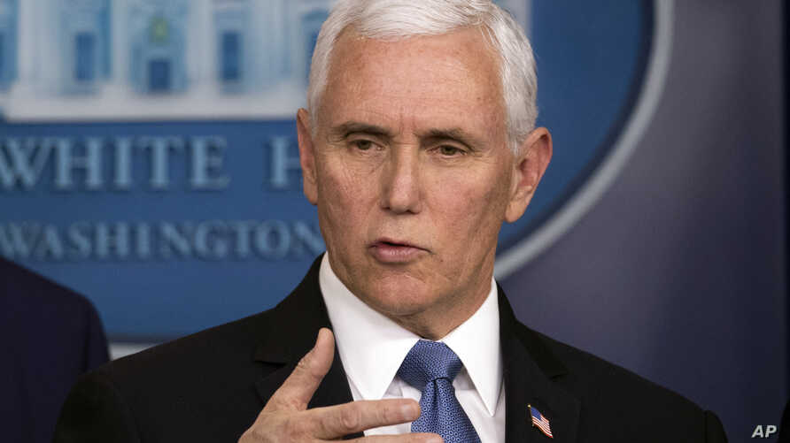 Vice President Mike Pence speaks during a news conference with President Donald Trump on coronavirus in the press briefing room at the White House, Feb. 29, 2020, in Washington.