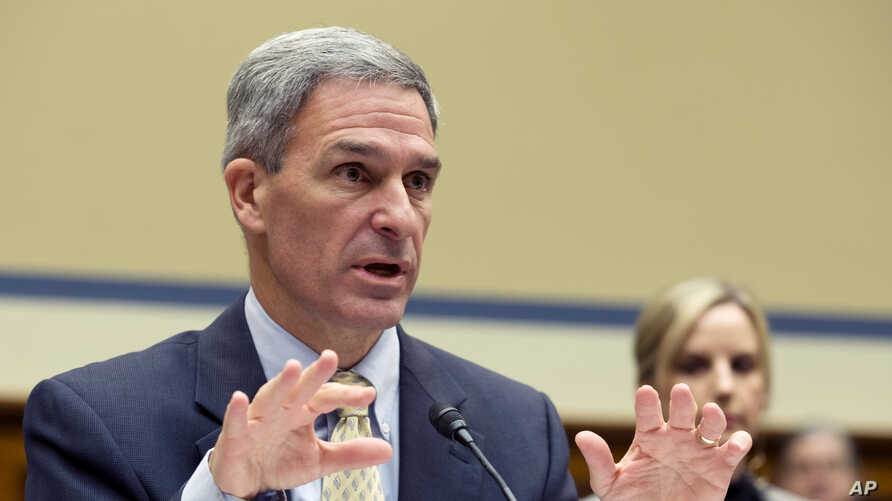FILE - In this Oct. 30, 2019, file photo, Ken Cuccinelli, acting director for the U.S. Citizenship and Immigration Services, U…