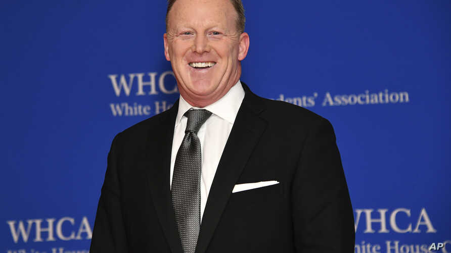 FILE - Sean Spicer at the 2019 White House Correspondents' Association dinner in Washington, April 27, 2019.