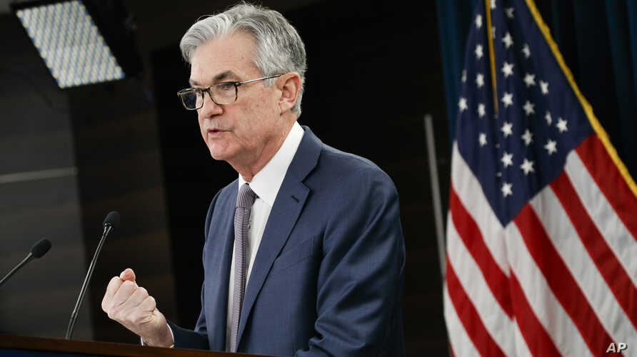Federal Reserve Chair Jerome Powell speaks during a news conference, Tuesday, March 3, 2020, to discuss an announcement from the Federal Open Market Committee, in Washington.