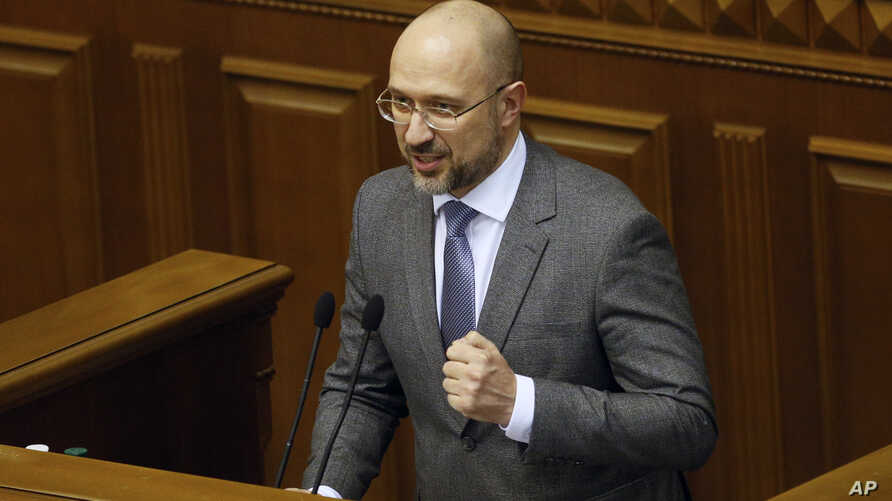Ukraine's newly elected Prime Minister Denys Shmyhal speaks at the parliament session hall in Kyiv, Ukraine, March 4, 2020.