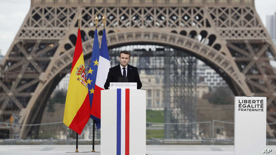 French President Emmanuel Macron delivers his speech during a ceremony to honor victims of terror attacks in Europe, at the…