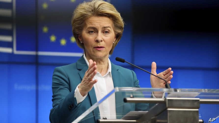 European Commission President Ursula von der Leyen addresses the media after a video-conference with G7 leaders at the European Council building in Brussels, Monday, March 16, 2020.