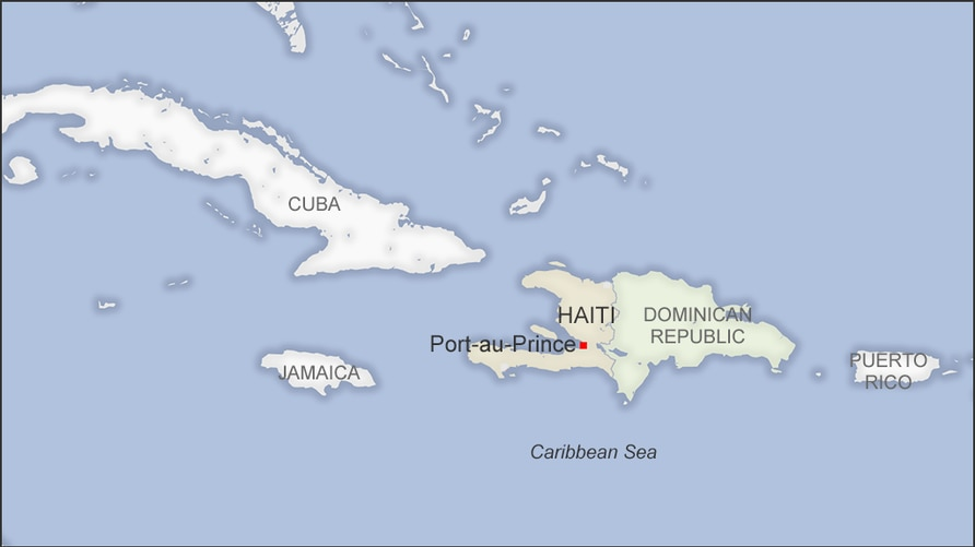 Map of Haiti, also showing the Dominican Republic